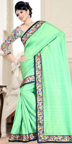 Dazzling Green Bhagalpuri Print Saree With Blouse.