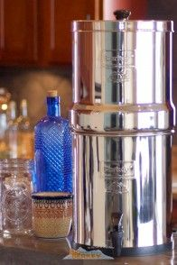 The Big Berkey Water Filter is the most popular water filter system in our lineup.  It's 2.25 gallons and 19 inches in height.