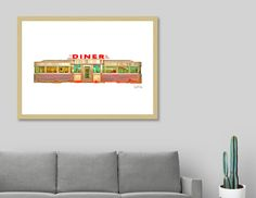 Discover «Classic American Diner Exterior», Limited Edition Fine Art Print by Edward Fielding - From $29 - Curioos