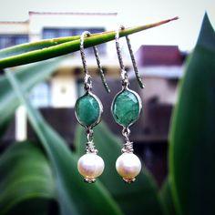 GENUINE, Natural Emerald Stone Earrings. by Bihls