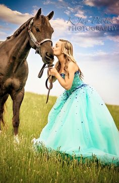Senior girl photography - horses and formal wear