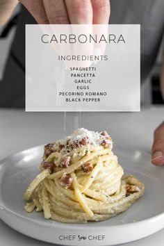 Spaghetti alla Carbonara Recipe - With just a few quality ingredients, our Classic Creamy Carbonara is simple, elegant and guaranteed to make your eyes roll back in pure bliss with every bite. | chefsouschef.com #Italian #pasta #comfortfood #quickdinner #chefsouschef