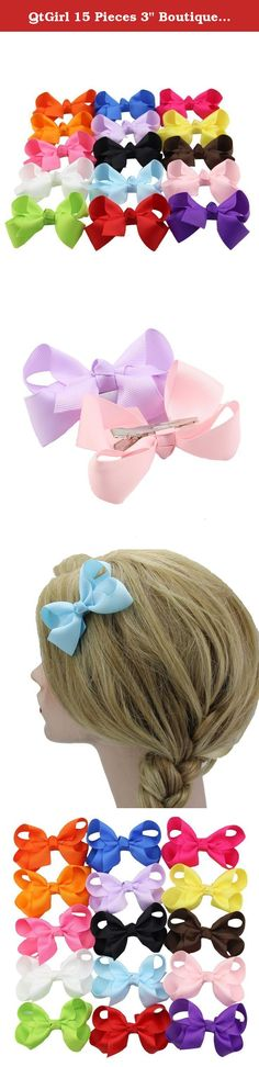 """QtGirl 15 Pieces 3"""" Boutique Grosgrain Hair Bows with Covered Clips. Why choose bows from Fashionfamily --We started to make bows 5 years ago, with a group of young people who are attracted by the cute and fancy bows, since then we've been striving to provide nice designed and high quality bows for our customers. Till now, we are proud to tell you that: * All bows are handmade by experienced workers, and with even and chic appearances. * The bows from Fashionfamily are made of well…"""