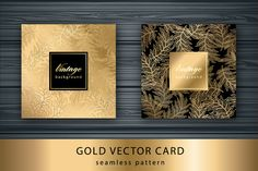 Set Gold card with seamless pattern by Marinstri on Creative Market