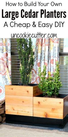 Planters - Large Cedar Planters for Cheap! - Uncookie Cutter All the details on how I built some easy outdoor DIY planter boxes for cheap!All the details on how I built some easy outdoor DIY planter boxes for cheap! Large Diy Planters, Cheap Planters, Diy Planters Outdoor, Diy Planter Box, Wood Planters, Outdoor Decor, Large Backyard Landscaping, Landscaping Tips, Backyard Ideas