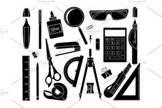 Set of stationery tools. Vector