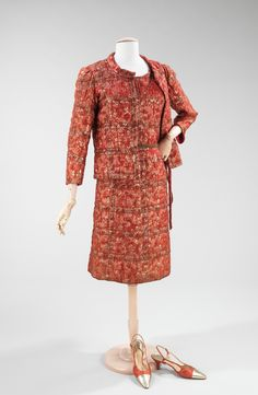 """Cocktail Ensemble, Gabrielle """"Coco"""" Chanel (French, Saumur 1883–1971 Paris) for the House of Chanel (French, founded 1913): ca. 1962, French, silk, metal. Shoes, René Mancini (French, founded 1936), leather."""