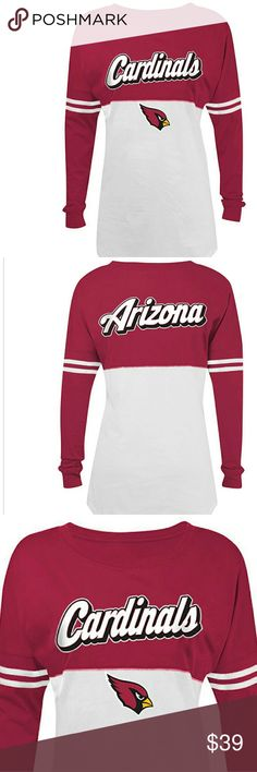 NWT Women's NFL Arizona Cardinals ❤NWT❤ Long sleeve Arizona Cardinals Varsity spirit baby Jersey tee , cotton , crew neck machine washable inside out with authentic NFL team apparel tag attached.    Please ask any and all questions before purchasing this item. NFL Team Gear  Tops Tees - Long Sleeve