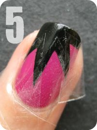 Explosion Nail Tutorial: Use a square piece of tape and cut it in half diagonally.