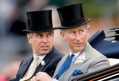 HEIR AND A SPARE Prince Andrew and Prince Charles arrive in a carriage at the Royal Ascot horse race, 2006. By David Hartley/Rex USA.
