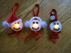 Christmas Window Decorations, Christmas Ornaments To Make, Christmas Tea, Christmas Crafts For Kids, Xmas Crafts, Handmade Christmas, Snowman Ornaments, Snowman Soup, Tea Light Snowman