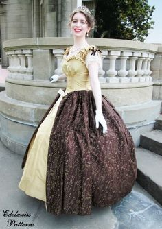 "Pinner said, ""This gold ballgown has an overlay of chocolate brown silk taffeta, embellished with hundreds of gold flowers painted on in a glittery finish. {Edelweiss Patterns}"" I wish I had this gown, my dreams of owning a princess dress would come true! Elegant Ball Gowns, Silk Taffeta, Gold Silk, Gold Flowers, Chocolate Brown, Overlay, Beautiful People, Tulle, Dreams"