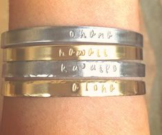 Personalized Cuffs Hawaiian Jewelry Aloha Bracelet by natashaaloha