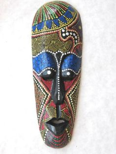 "African Mask Tiki Mask Tribal Bali Wall Decor Art Mask19"" #5509"
