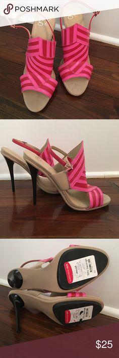 GX by Gwen Stefani Size 8 Open Toe Heels GX by Gwen Stefani open toe sling back heels. Hot pink stripes. Size 8. NWT. Vegan. No box. GX by Gwen Stefani Shoes Heels