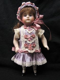 "Silk Dress & Bonnet for a 5 1/2"" Antique Doll Mignonette Bru Kestner Dollhouse 