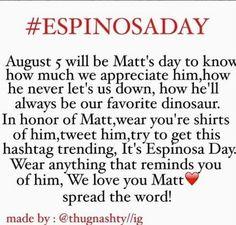 Spread the word!! Let's show Matt that we all love him very much!! #SmileMatt#EspinosaDay