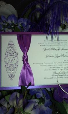 Purple wedding invitation with BLING
