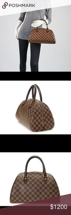 Louis Vuitton Ribera MM Bag Two words describe the Louis Vuitton Damier Ribera MM: cute and chic. This versatile everyday bag features a roomy interior that's accessed through a large double zipped opening. The exterior shape features a striking profile that's an elegant alternative to the Louis Vuitton Speedy.  The exterior canvas is clean and beautiful. Leather trim is in very good condition. Interior is clean with one minor black mark. (Shown in photo) No fading. Comes with Free…