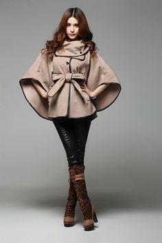 Hot Sale Ladies Cashmere Blends Poncho Coat, Fashion Designer Cotton Blends Women Cape Cloak Mantle Jacket Free Shipping HC419 - Khaki