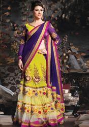 Neon yellow purple georgette net wedding wear lehenga choli