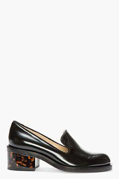 Stella McCartney Black Patent & Tortoiseshell Loafers for women | SSENSE