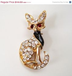 Mothers Day Sale Rhinestone Cat Brooch Foxy by Flourisheshome