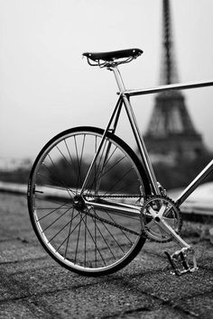 black and white bicycle in paris