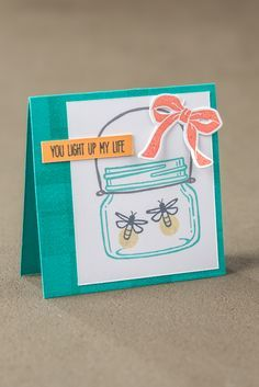 Mason jars are perfect for catching fireflies! Check out the Stampin' Up! Jar of Love stamp set and Everyday Jars thinlet set from Scrapbooking, Scrapbook Cards, Mason Jar Cards, Mason Jars, Karten Diy, Stampin Up Catalog, Love Stamps, Stamping Up Cards, Pots