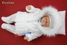 Ciepłe zimowe ubranko dla niemowlęcia do chrztu z garniturowej tkaniny