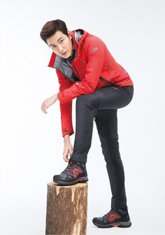 Love the red jacket and black pants. EIDER S/S 2015 Ad Campaign Feat. Lee Min Ho | Couch Kimchi
