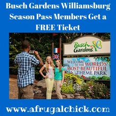 b9143ed4ad914a457cbfa352e298399e  free tickets frugal - Busch Gardens Williamsburg Season Pass Discount