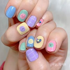 Today I recommend to you some very cute nails designs that will make you young all of a sudden! Painted nail art is the most basic style of nail art. Many girls have done it, and the cute cartoon painted nail art is even more unique. It is very young, Cute Acrylic Nails, Cute Nails, Pretty Nails, Pastel Nail Art, Korean Nail Art, Soft Nails, Kawaii Nails, Japanese Nails, Funky Nails