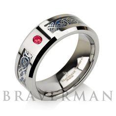 Custom Birthstone Red Ruby Tungsten Carbide by BravermanOren