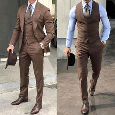 Classy Wedding Tuxedos Suits Slim Fit Bridegroom For Men 3 Pieces Groomsmen Suit Formal Business Outfits Party (Jacket+Vest+Pant Costume Homme 3 Pieces, Costumes En Tweed, Costumes For Men, Prom Suits For Men, Best Suits For Men, Stylish Mens Outfits, Stylish Clothes For Men, Mens Dress Outfits, Fashion Clothes For Men