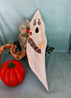 Beach Halloween ghost with seashells_Seashell ghost beach decor