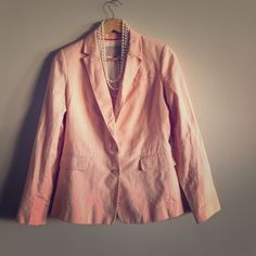 Pink Banana Republic Blazer Ladies! I just cleaned and steamed a little this jacket and it is on better condition than I thought. Signs of wear a little @ underarm and neck. These are area that only you would notice when wearing, but it's good to know. Banana Republic Jackets & Coats Blazers