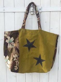 Sac cabas XL coton et jute, motif étoile / fleurs : Sacs à main par les-damotes