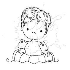 Digi Stamp - I am attracted to swimming boys - I wonder why?