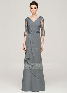 A-Line/Princess V-neck Floor-Length Chiffon Tulle Mother of the Bride Dress With Beading Appliques Lace Sequins Cascading Ruffles (008062572)