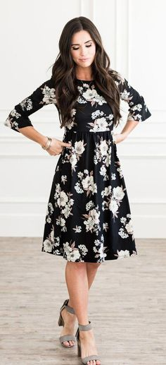 Callie Dress (Black Floral) Callie Dress (Black Floral),Mode This great black and cream floral dress is made of super soft comfortable stretchy material. It's a dress that you can pull on for any occasion. Modest Outfits, Modest Fashion, Dress Outfits, Fashion Dresses, Cute Outfits, Dresses Dresses, Modest Clothing, Wedding Dresses, Modest Dresses For Women