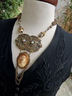 Antique Art Nouveau Cameo Necklace, Lux Ornament, by RusticGypsyCreations by RusticGypsyCreations on Etsy https://www.etsy.com/listing/171522680/antique-art-nouveau-cameo-necklace-lux