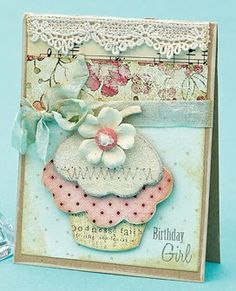 Shabby Pastel Birthday Girl Card...with cupcake, lace trim & bow...by Melissa Phillips.