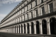 Rue de Rivoli in Paris by the French architects Charles Percier and Pierre-Francois-Leonard Fontaine. Beautiful, stark and repetitive facade with arcade.