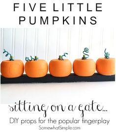 5 Little Pumpkins Fingerplay Props - Somewhat Simple