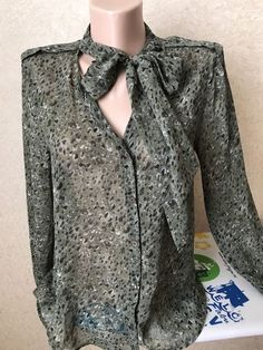 ❤️IKKS Long Sleeve Dark Green Animal Print Bow Blouse Size 38 (US8)  | eBay