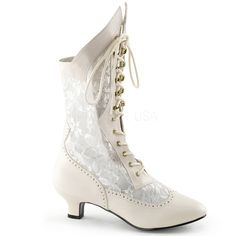 Wearifudare, High Heel Shoes   Pleaser Shoes   Bordello   Domonia   Devious   Fabulicious   Funtasma   Pleaser   http://wearifudare.co.uk/store/all-pleaser-boots/pleaser-funtasma-dame-115-ivory-pu-lace-up-victorian-ankle-boots/