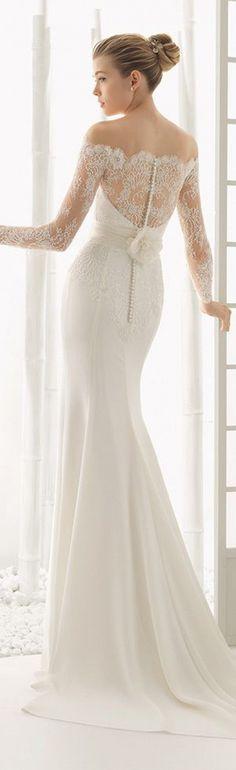 Long sleeves bateau long wedding dresses