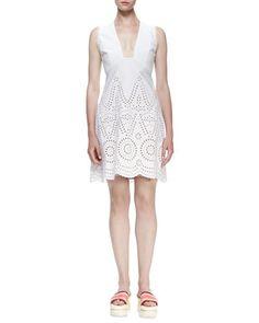 Sleeveless+Deep-V+Eyelet+Dress,+White+by+Stella+McCartney+at+Neiman+Marcus.