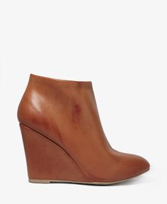 Gotta have for the fall... Faux Leather Wedge Booties | FOREVER 21 - 2027705761